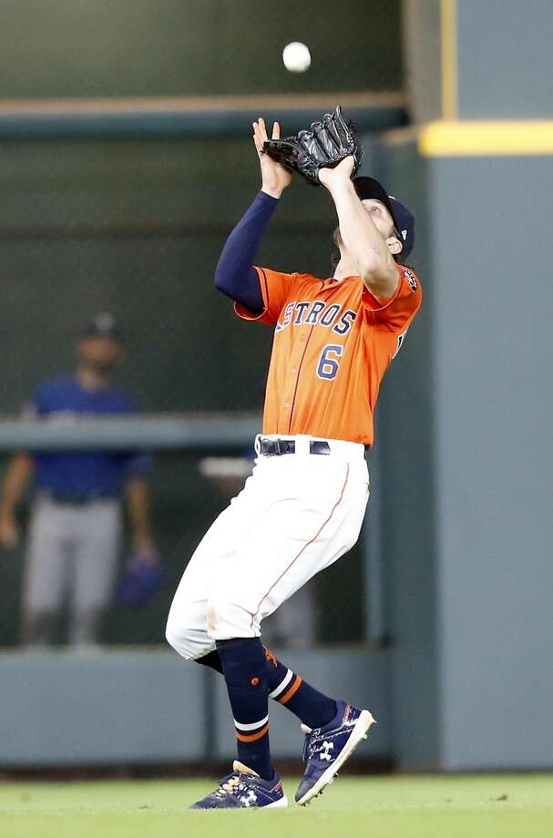 Houston Astros center fielder Jake Marisnick (6) gets Texas Rangers center fielder Joey Gallo (13) fly out for the second out in the ninth inning at Minute Maid Park on Friday, July 19, 2019 in Houston. Houston Astros won the game 4-3. Photo: Elizabeth Conley/Staff Photographer