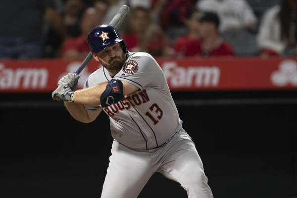 Houston Astros' Tyler White in a baseball game against the Los Angeles Angels in Anaheim, Calif., Wednesday, July 17, 2019. (AP Photo/Kyusung Gong)