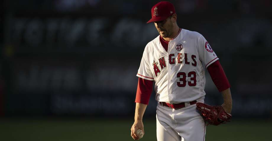 Los Angeles Angels starting pitcher Matt Harvey in a baseball game against the Houston Astros in Anaheim, Calif., Thursday, July 18, 2019. (AP Photo/Kyusung Gong) Photo: Kyusung Gong/Associated Press