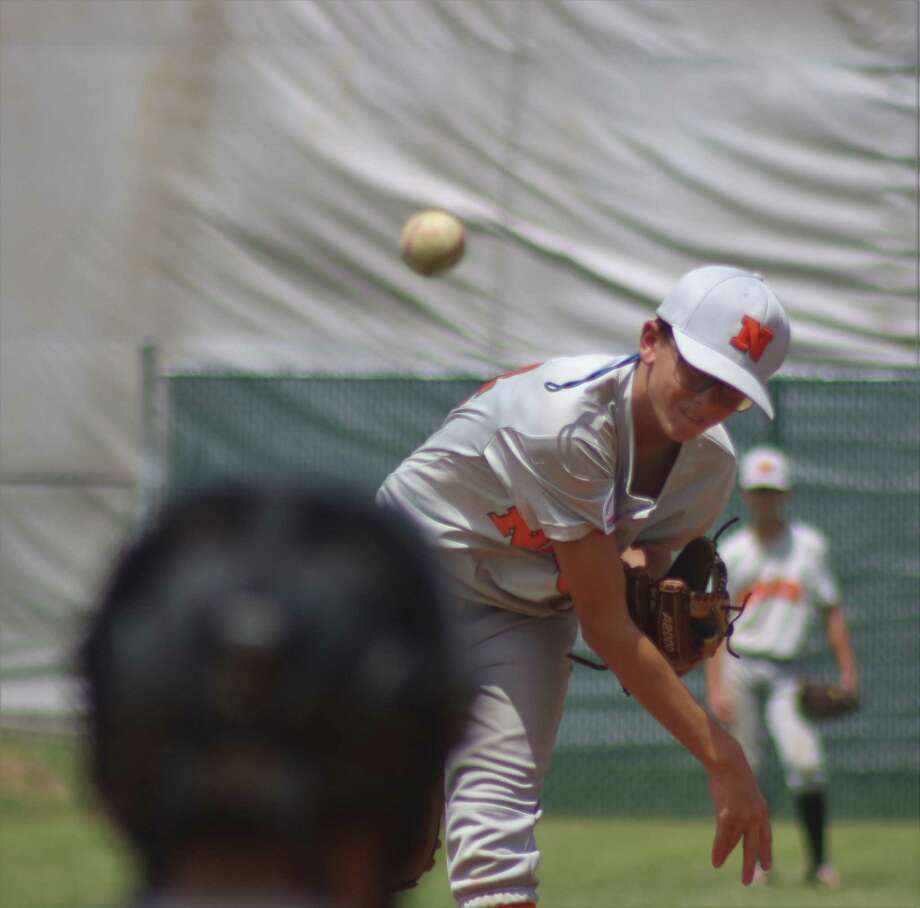 Pitcher Aidan Broussard ignored the hot conditions to give NASA-Orange nearly seven solid innings in scattering five hits, all singles Friday. Photo: Robert Avery