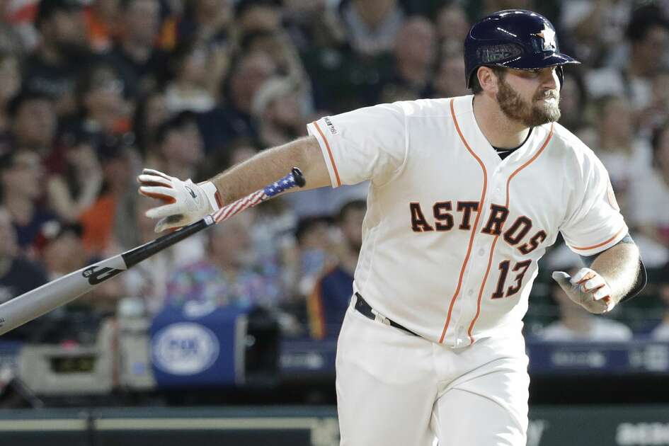 Houston Astros' Tyler White bats against the Los Angeles Angels during the fourth inning of a baseball game Saturday, July 6, 2019, in Houston. (AP Photo/David J. Phillip)