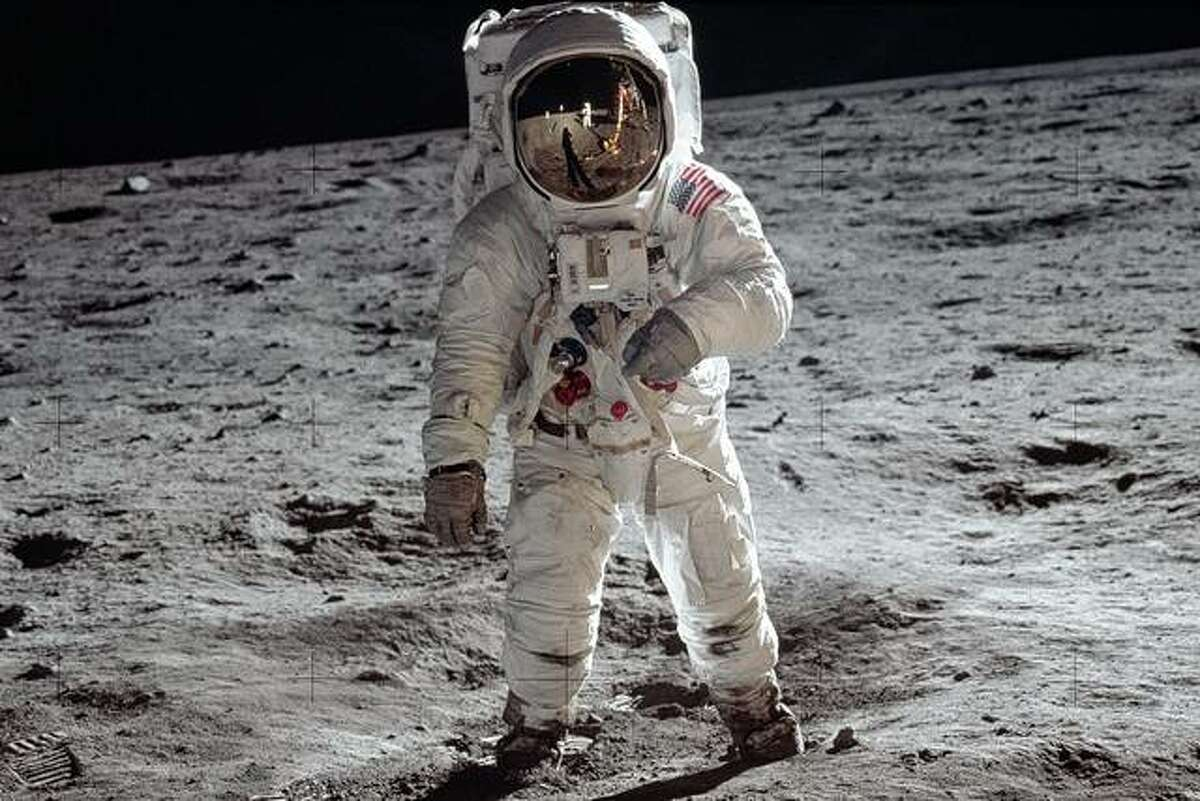 Astronaut Buzz Aldrin, lunar module pilot, walks on the surface of the moon July 20, 1969, during the Apollo 11 extravehicular activity.