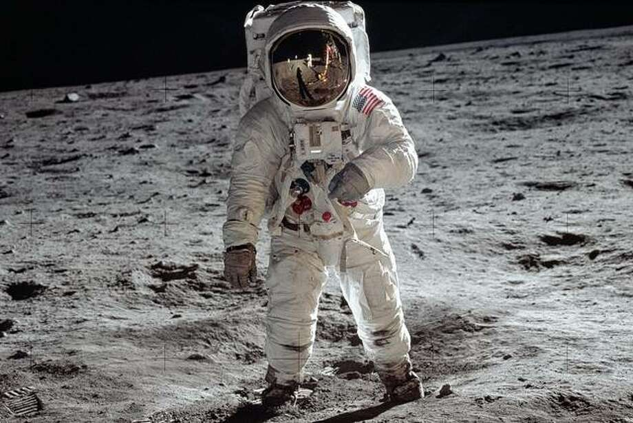Astronaut Buzz Aldrin, lunar module pilot, walks on the surface of the moon July 20, 1969, during the Apollo 11 extravehicular activity. Photo: Neil Armstrong | NASA Via AP