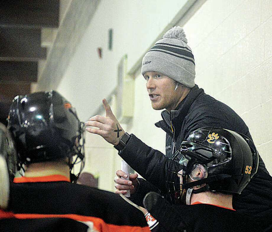 Edwardsville hockey coach Jason Walker led the Tigers Mid-State Hockey Association entry, the EHS MVCHA team and led the Tigers to the 2019 USA High School Nationals in Ohio. Photo: File Photo