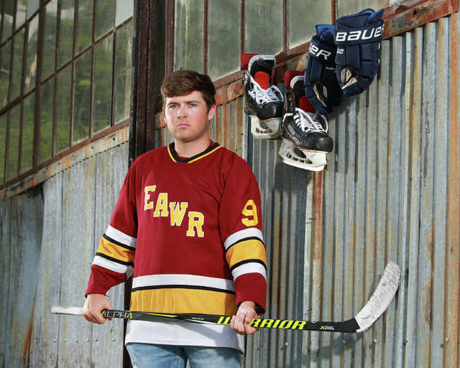 Senior Kaleb Harrop East Alton-Wood River, scored 43 goals and added five assists in the 2018-19 season and is The Telegraph Hockey Player of the Year. Photo: Billy Hurst | For The Telegraph