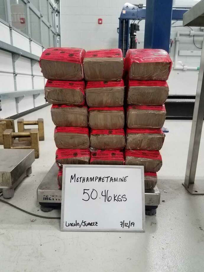 Shown are 41 bundles of meth agents discovered at the checkpoint on FM 1017 Road near Hebbronville. Photo: Courtesy Photo / US Border Patrol
