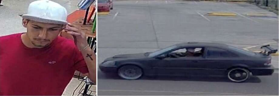 Laredo police said the male and the vehicle shown are linked to a theft case. To provide information on the case, call police at 795-2800 or Laredo Crime Stoppers at 727-TIPS (8477). Information provided through Crime Stoppers may be eligible for a cash reward. Photo: Courtesy Photo /Laredo Police Department