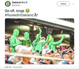 A group of A's fans wore full-body morph suits on a high-humidity 94 degree day in Minneapolis.