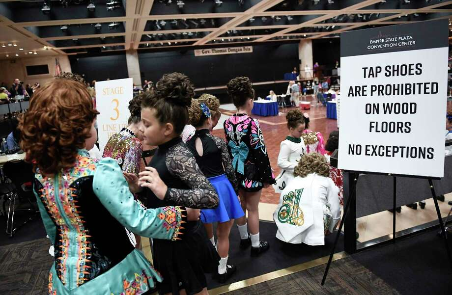 Dancers wait to compete in the Gov. Thomas Dongan Feis dance competition at the Empire State Convention Center Saturday, July 20, 2019, in Albany, N.Y. (Hans Pennink / Special to the Times Union) Photo: Hans Pennink / Hans Pennink