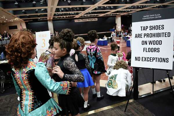 Dancers wait to compete in the Gov. Thomas Dongan Feis dance competition at the Empire State Convention Center Saturday, July 20, 2019, in Albany, N.Y. (Hans Pennink / Special to the Times Union)