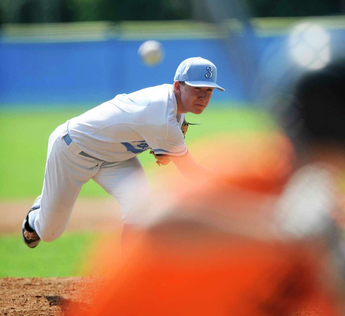 Stamford pitcher Grant Purpura delivers a throw in the second inning against Orange in the American Legion state tournament opener at Cubeta Stadium on Saturday in Stamford.