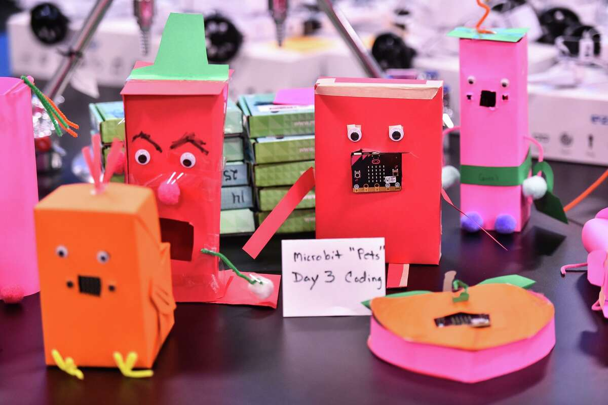 """Microbit pets were made by the students at """"Zombie Camp"""" at CAST Tech."""