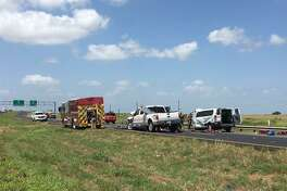A three-vehicle crash just north of Victoria on U.S. 59 killed five people and injured seven late Saturday morning. (Kali Venable/kvenable@vicad.com)