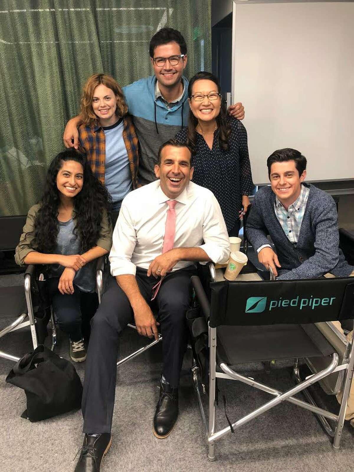 San Jose Mayor Sam Liccardo on the set of the HBO show,