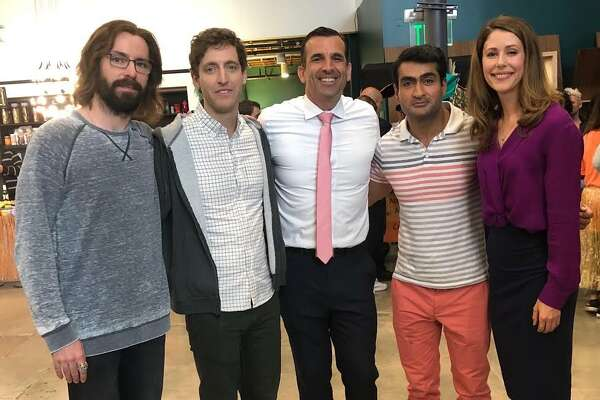 "Images of San Jose Mayor Sam Liccardo on the set of the HBO show, ""Silicon Valley."""