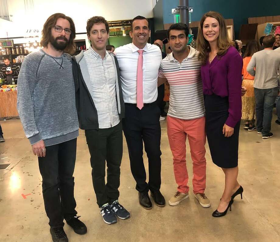 """San Jose Mayor Sam Liccardo poses with the cast of the HBO show """"Silicon Valley"""" where he says he'll make a """"brief"""" cameo appearance. Shown, from left: actors Martin Starr, Thomas Middleditch, Liccardo, Kumail Nanjiani and Amanda Crew. Photo: Sam Liccardo"""
