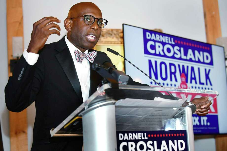 Darnell Crosland officially kicks off his mayoral candidacy Friday, July 19, 2019, at Paella restaurant in Norwalk, Conn. Crosland has no reported donations to his campaign and a perceived lack of support from the Republican party which he joined only months ago. Photo: Erik Trautmann / Hearst Connecticut Media / Connecticut Post