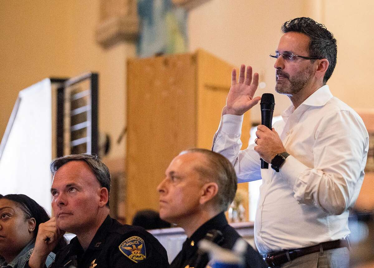 San Francisco District 11 Supervisor Ahsha Safai speaks to the crowd during a community meeting held at Balboa High School in San Francisco, Calif. Saturday, July 20, 2019 addressing the proposed safe parking center near the Balboa BART Station for people who are homeless and live in their cars.