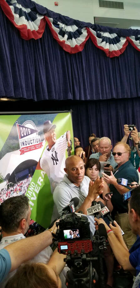 Mariano Rivera talks to the media on Saturday, July 20, 2019, the day before he is to be inducted in the Natonal Baseball Hall of Fame. (James Allen / Times Union) Photo: James Allen / Times Union