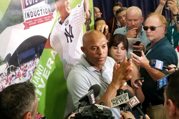 Mariano Rivera talks to the media on Saturday, July 20, 2019, the day before he is to be inducted in the Natonal Baseball Hall of Fame. (James Allen / Times Union)