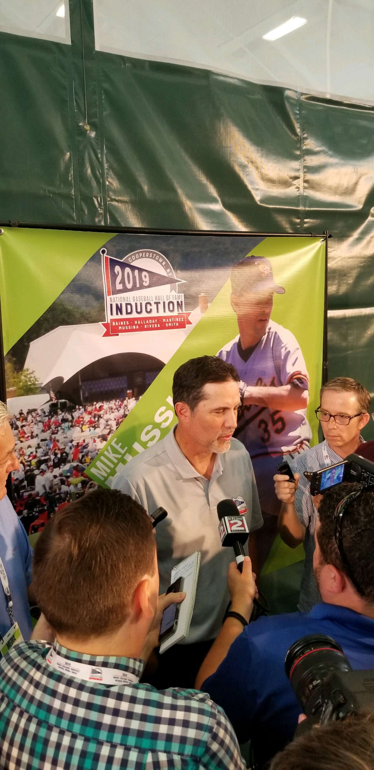 Mike Mussina talks to the media on Saturday, July 20, 2019, the day before he is to be inducted in the Natonal Baseball Hall of Fame. (James Allen / Times Union)