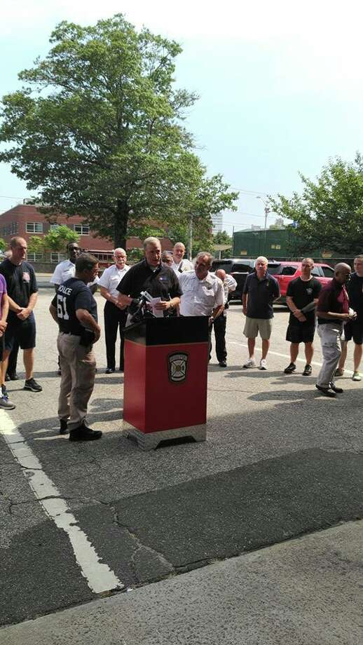 A California man running across the country to raise awareness for the Firefighter Cancer Support Network visited Bridgeport Friday. Photo: Courtesy Of The Bridgeport Fire Department