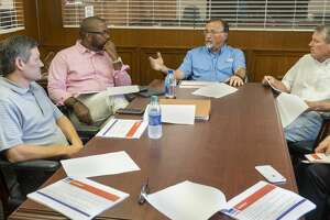 Jay Edwards, Orlando Riddick, Ronnie Scott and Rick Davis speak 07/19/19 with the Reporter-Telegram about the proposed upcoming school bond. Tim Fischer/Reporter-Telegram