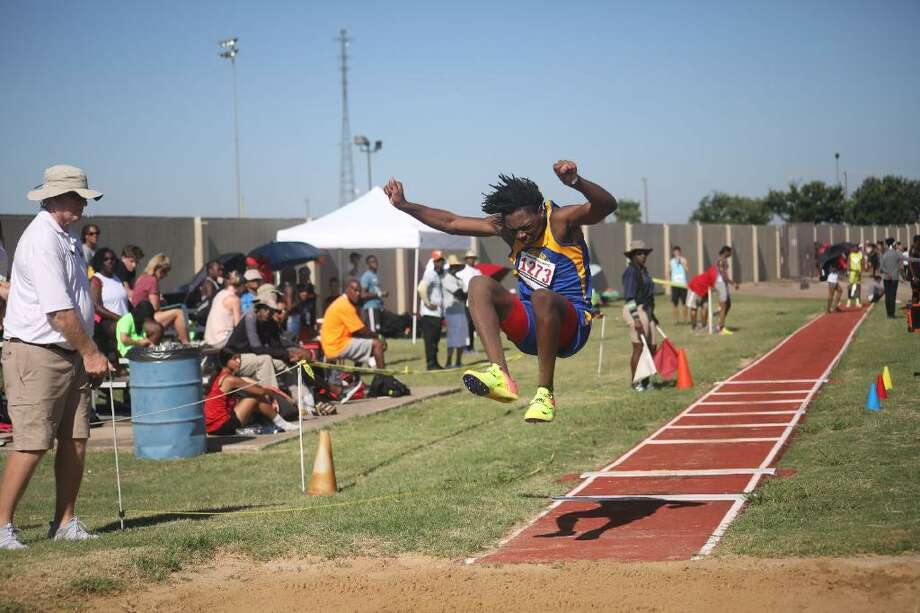 Farris' Tall City Christian Track Club athlete Javian Edwards competes in the triple jump during the USATF Region 12 Junior Olympic Championships, July 13 in Fort Worth. Photo: Courtesy Photo