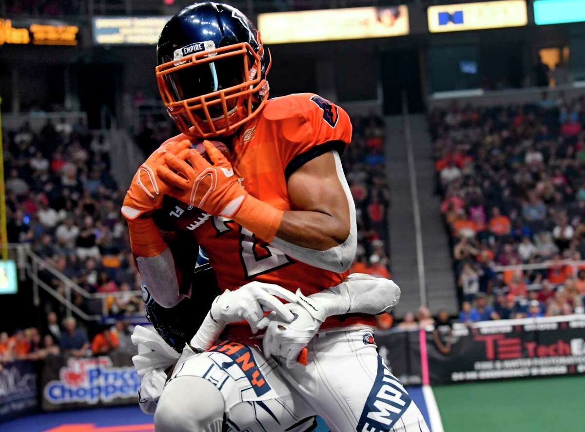 Albany Empire's Demetres Stephens (2) catches pass for a touchdown against the Philadelphia Soul during a arena football game Saturday, July 20, 2019, in Albany, N.Y. (Hans Pennink / Special to the Times Union)