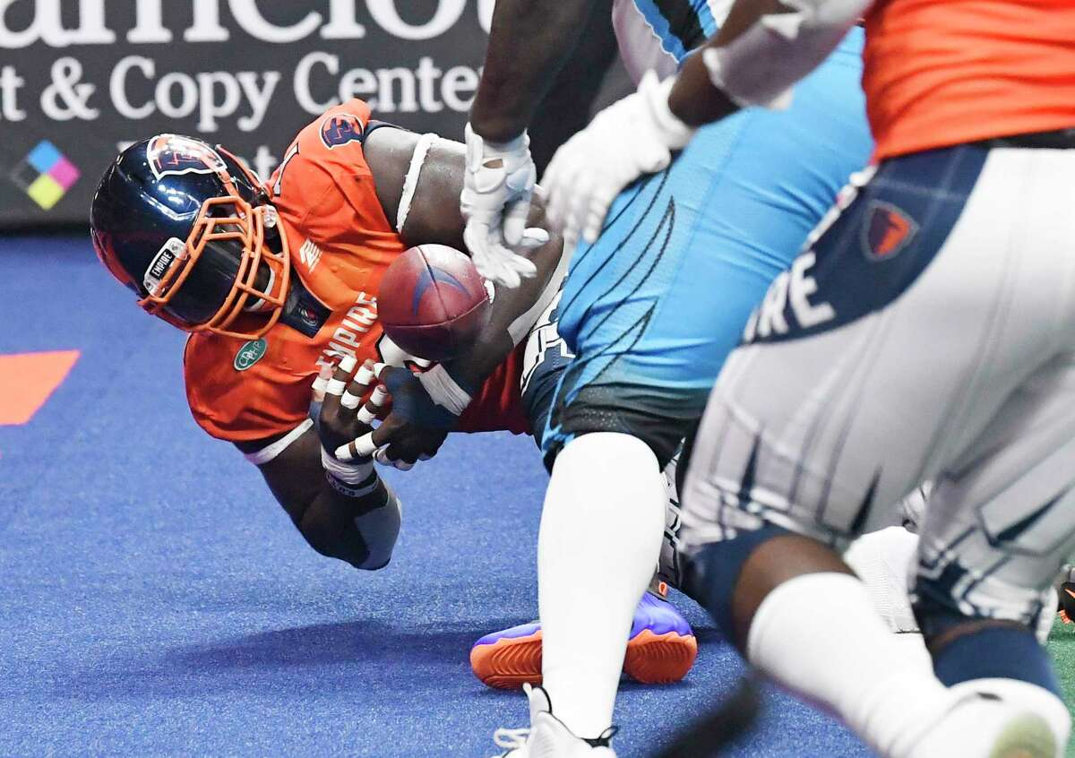 Albany Empire's Joe Sykes (1) recovers the ball the for a touchback against Philadelphia Soul during a arena football game Saturday, July 20, 2019, in Albany, N.Y. (Hans Pennink / Special to the Times Union)