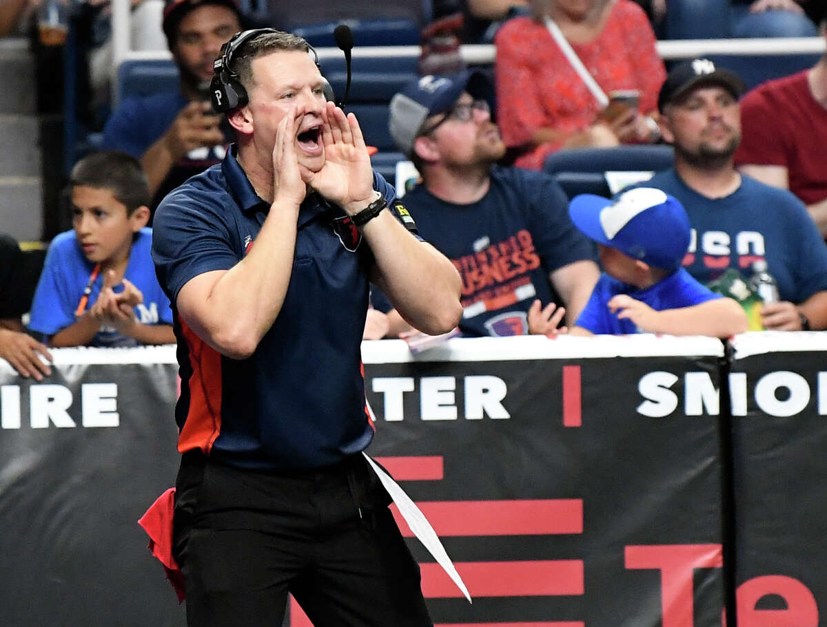 Albany Empire's head coach Rob Keefe yells instructions to his players during a game against the Philadelphia Soul during a arena football game Saturday, July 20, 2019, in Albany, N.Y. (Hans Pennink / Special to the Times Union)