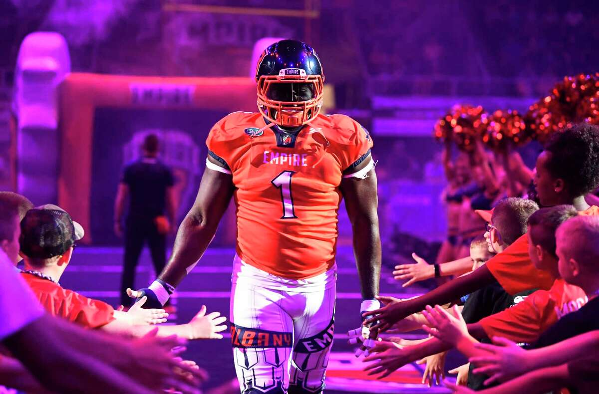 Albany Empire's Joe Sykes (1) takes the field against the Philadelphia Soul during a arena football game Saturday, July 20, 2019, in Albany, N.Y. (Hans Pennink / Special to the Times Union)