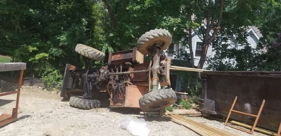 The Westport Fire Department responded to a construction site Saturday after receiving reports of a vehicle that had rolled over. Photo: Courtesy Of The Town Of Westport Fire Department Facebook Page