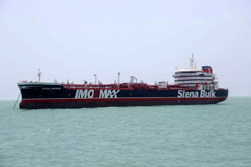 A British-flagged oil tanker Stena Impero which was seized by the Iran's Revolutionary Guard on Friday is photographed in the Iranian port of Bandar Abbas, Saturday, July 20, 2019. The chairman of Britain's House of Commons Foreign Affairs Committee says military action to free the oil tanker seized by Iran would not be a good choice. Tom Tugendhat said Saturday it would be