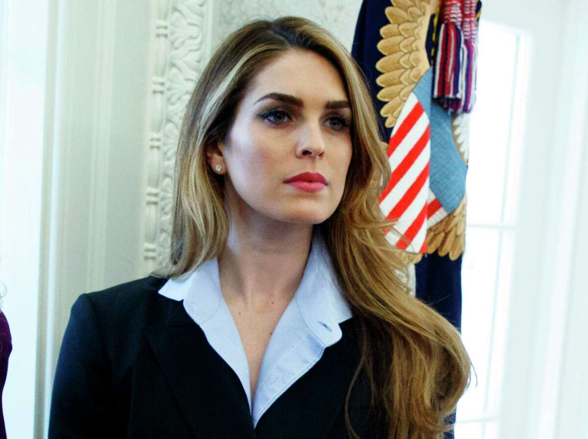 FILE - In this Feb. 9, 2018 file photo, White House Communications Director Hope Hicks appears in the Oval Office at the White House in Washington. Hicks has been hired at the new Fox company being created by the shedding of many of 21st Century Fox's entertainment assets to the Walt Disney Co. Hicks, who left the White House on March 29, will be based in Los Angeles. (AP Photo/Evan Vucci, FIle)