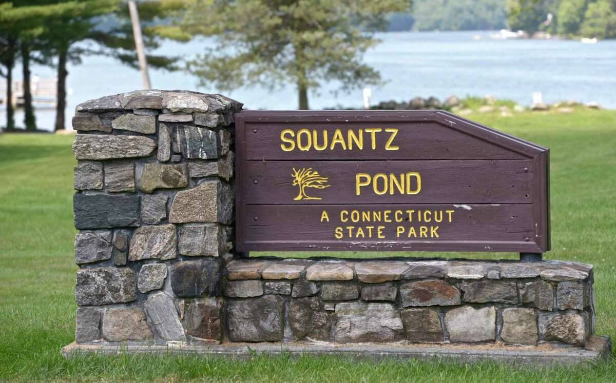 Sign at the entrance of Squantz Pond State Park, in New Fairfield. on Saturday, August 15, 2015, in New Fairfield, Conn.