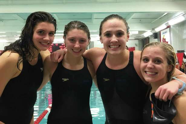 Ridgefield High swimmers Stephanie Bishop, Rylie Giles, Anna Turner, and Hannah Snyder (left to right) earned All-America honors in a relay event.