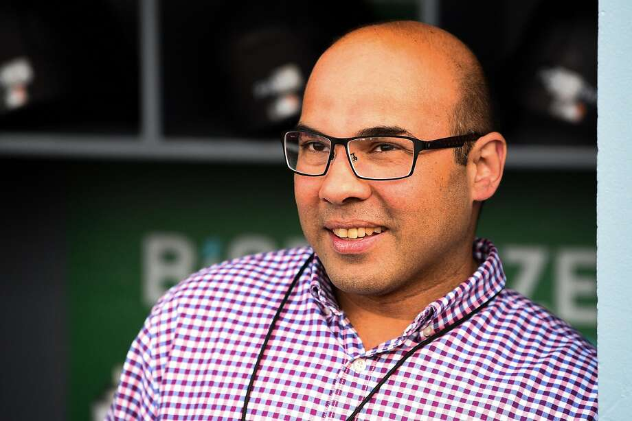 President of Baseball Operations Farhan Zaidi looks on before a MLB game between the San Francisco Giants and the Los Angeles Dodgers on April 1, 2019 at Dodger Stadium in Los Angeles, CA. Photo: Icon Sportswire, Icon Sportswire Via Getty Images