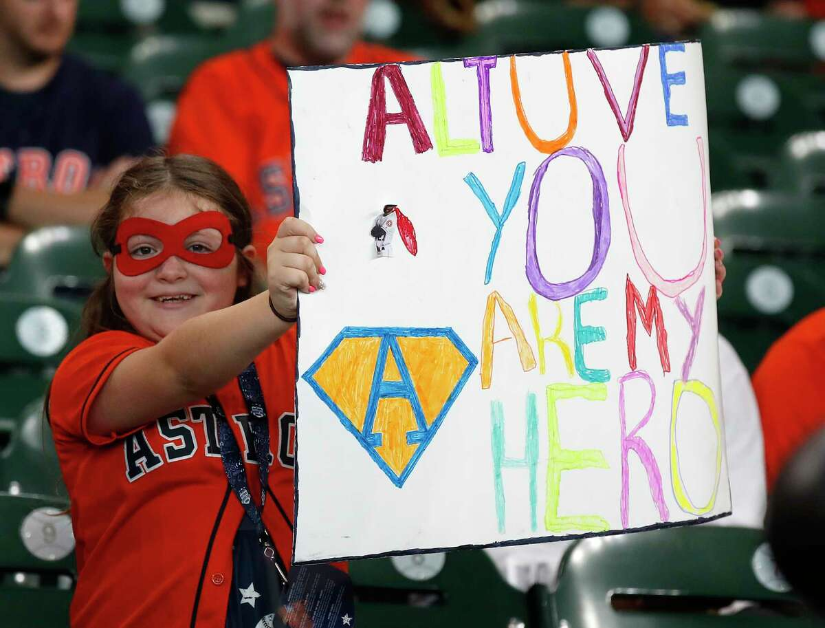 Marina Cura, 10 celebrates Super Hero Day before the start of the first inning of an MLB baseball game at Minute Maid Park, Sunday, July 21, 2019.