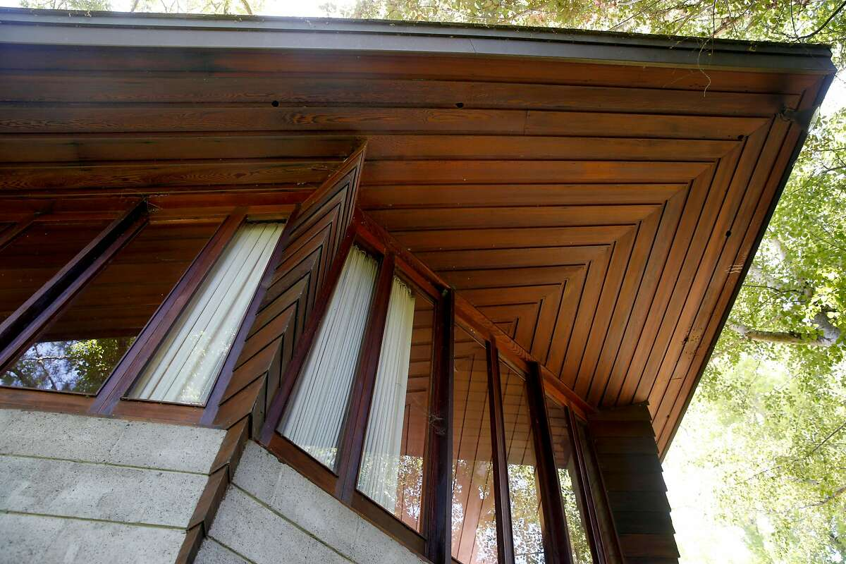 The eaves of the Maynard Buehler House, designed by Frank Lloyd Wright, in Orinda, Calif. on Friday, July 19, 2019. The Usonian house designed by the legendary American architect is among the homes available to tour through the Frank Lloyd Wright Revival Initiative.