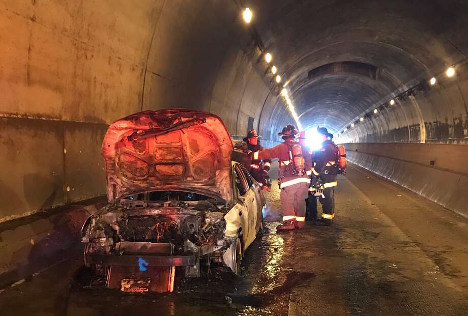 A car fire inside the MacArthur Tunnel in San Francisco on July 21, 2019. Photo: San Francisco Fire Department