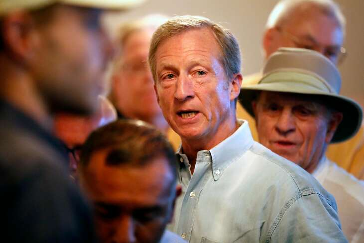 US Presidential candidate Tom Steyer appears at Manny's in San Francisco during his first local campaign event in San Francisco, Calif., on Wednesday, July 17, 2019.