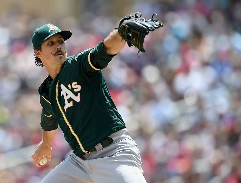 MINNEAPOLIS, MN - JULY 21: Daniel Mengden #33 of the Oakland Athletics delivers a pitch against the Minnesota Twins during the first inning of the game on July 21, 2019 at Target Field in Minneapolis, Minnesota. (Photo by Hannah Foslien/Getty Images) Photo: Hannah Foslien / Getty Images
