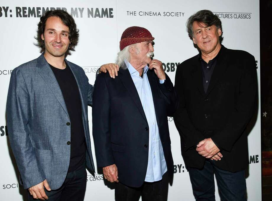 "Director A.J. Eaton, left, musician David Crosby and producer Cameron Crowe attend a special screening of ""David Crosby: Remember My Name,"" hosted by Sony Pictures Classics and The Cinema Society, at The Roxy Cinema, Tuesday, July 16, 2019, in New York. (Photo by Evan Agostini/Invision/AP) Photo: Evan Agostini / 2019 Invision"