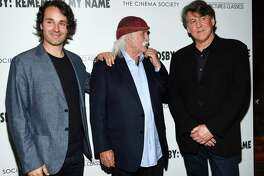 """Director A.J. Eaton, left, musician David Crosby and producer Cameron Crowe attend a special screening of """"David Crosby: Remember My Name,"""" hosted by Sony Pictures Classics and The Cinema Society, at The Roxy Cinema, Tuesday, July 16, 2019, in New York. (Photo by Evan Agostini/Invision/AP)"""