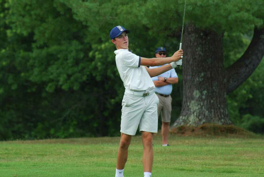 Ben James of Milford fires his approach shot on the fifth hole in the final round of the 85th Connecticut Open on Sunday. James, 16, finished third and was the low amateur. He will be a sophomore at Hamden Hall Country Day in the fall. Photo: CSGA / Contributed Photo