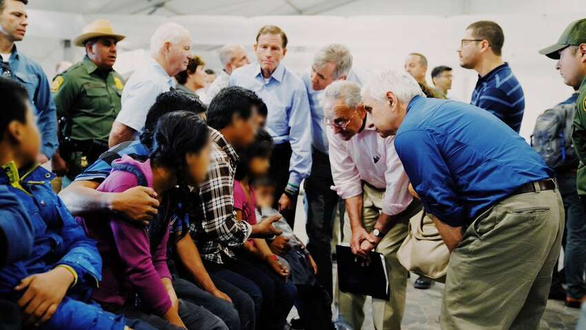 U.S. Senator Chuck Schumer, a Democrat, visited migrant detention facilities along the southern border on Friday, July 19, 2019.