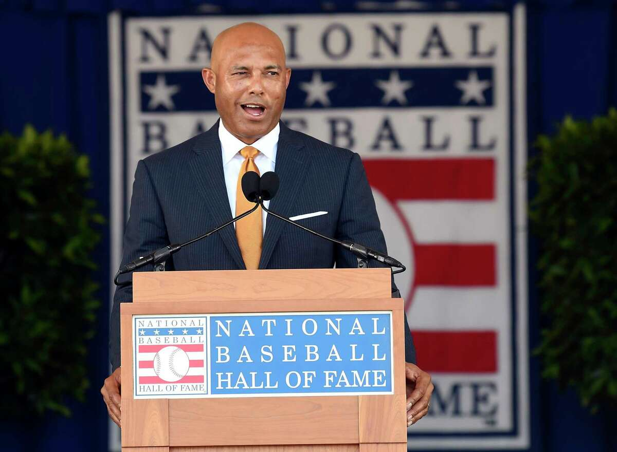 National Baseball Hall of Fame inductee Mariano Rivera, New York Yankees pitcher speaks during an induction ceremony at the Clark Sports Center on Sunday, July 21, 2019, in Cooperstown, N.Y.