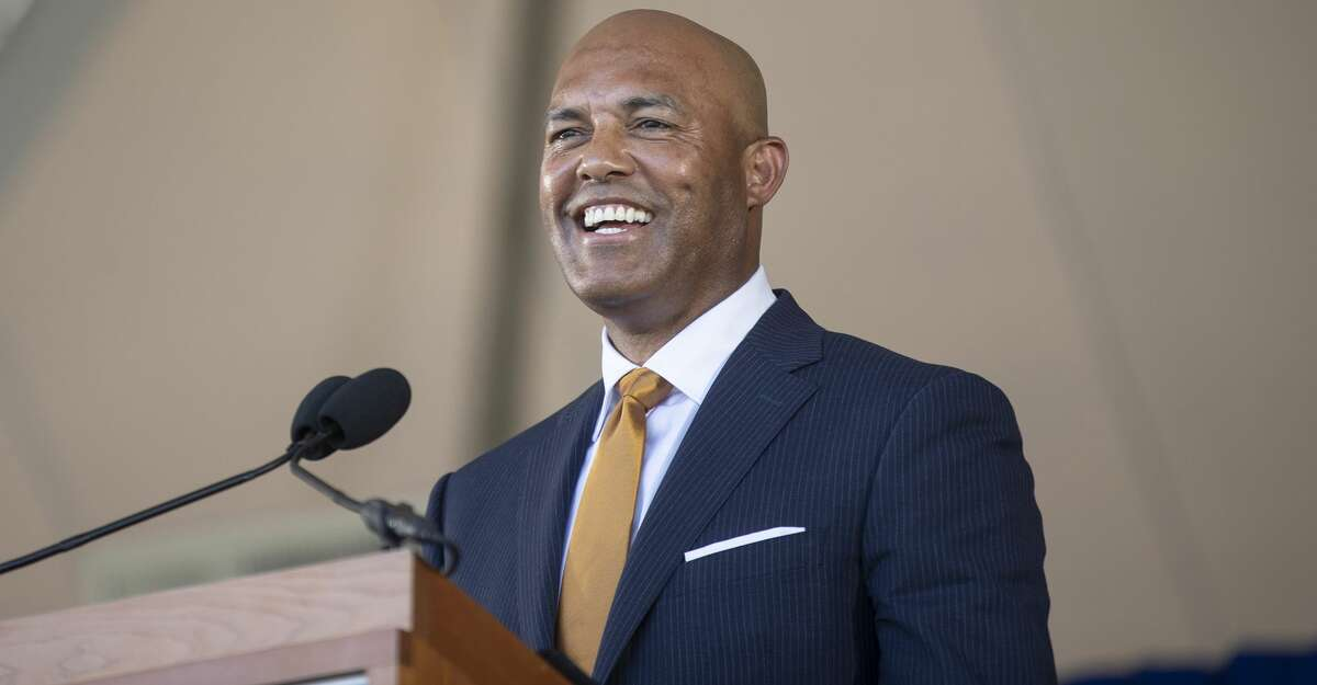 Former New York Yankees pitcher Mariano Rivera speaks during the Baseball Hall of Fame induction ceremony at the Clark Sports Center in Cooperstown, N.Y., on Sunday, July 21, 2019. Rivera is the only player elected unanimously to the Hall. (Calla Kessler/The New York Times)