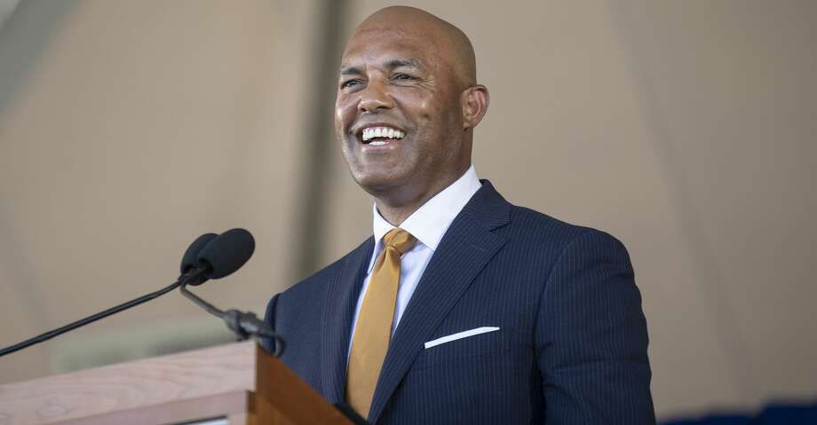 Former New York Yankees pitcher Mariano Rivera speaks during the Baseball Hall of Fame induction ceremony at the Clark Sports Center in Cooperstown, N.Y., on Sunday, July 21, 2019. Rivera is the only player elected unanimously to the Hall. (Calla Kessler/The New York Times) Photo: CALLA KESSLER/NYT